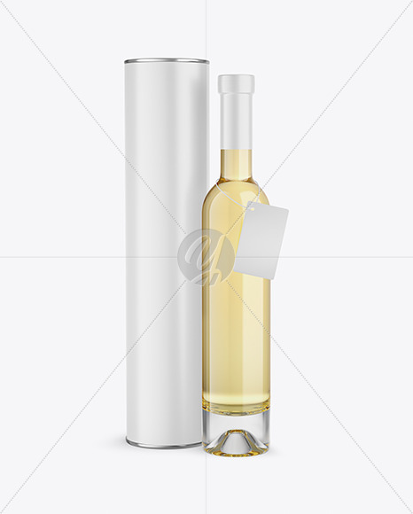 Clear Glass White Wine Bottle With Tube Mockup