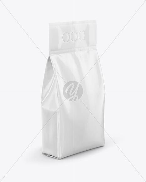Glossy Powder Bag Mockup - Half Side View