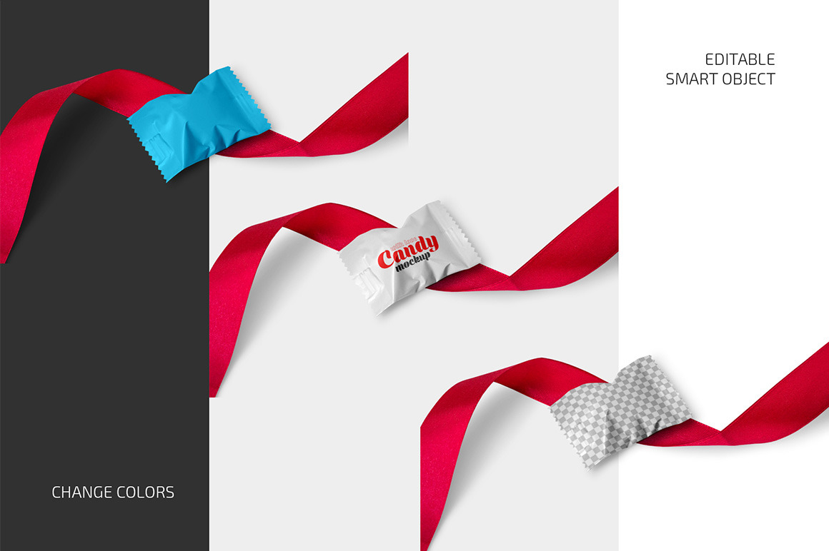 Matte Candy with Red Ribbon Mockup Set