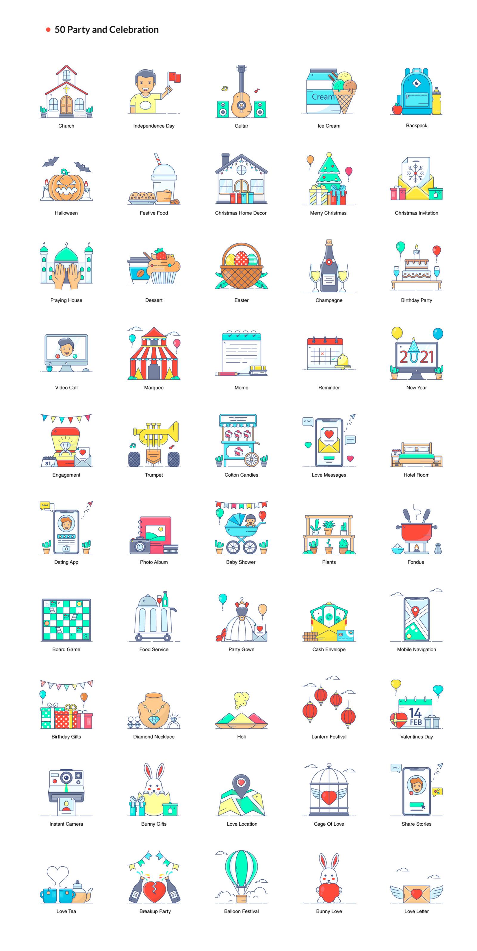 1200+ Flat Line Conceptual Icons