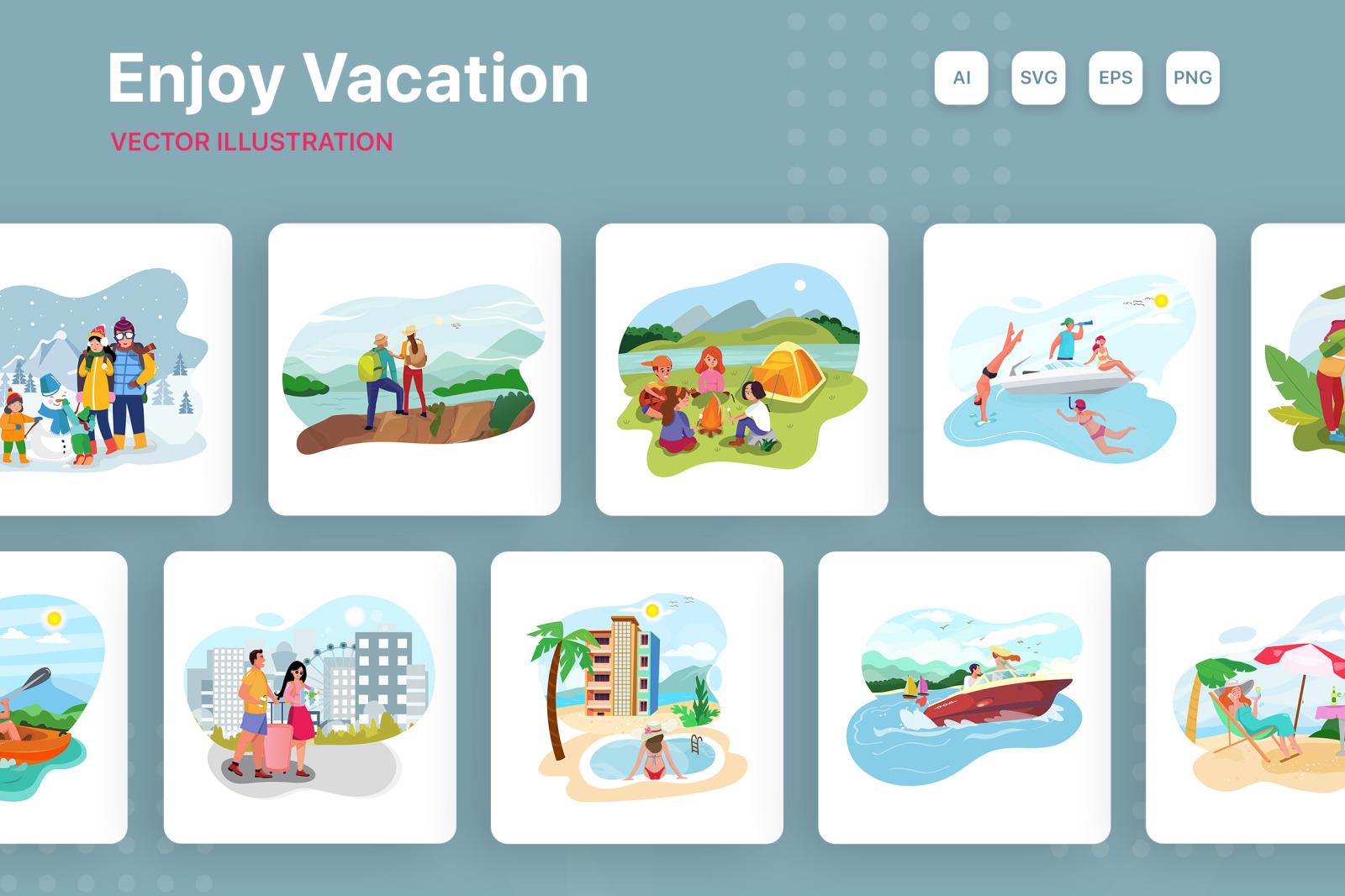 M171_ Enjoy Vacation Illustrations