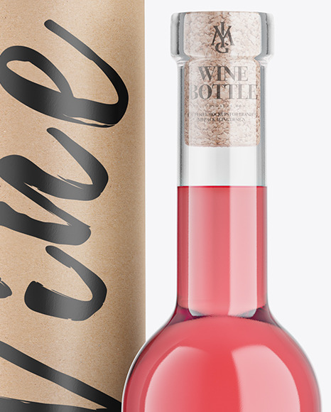 Clear Glass Pink Wine Bottle With Tube Mockup
