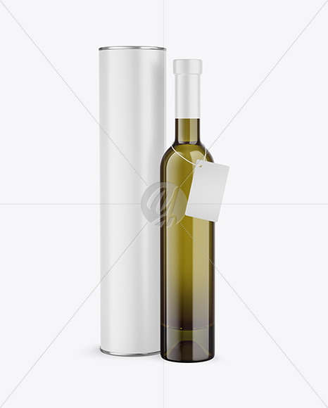 Antique Green Glass White Wine Bottle With Tube Mockup