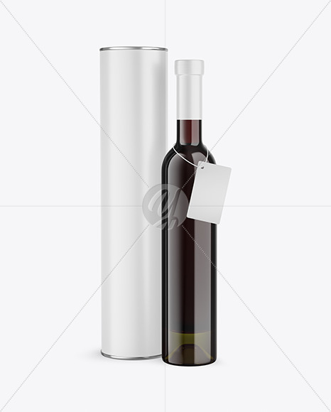 Antique Green Glass Red Wine Bottle With Tube Mockup