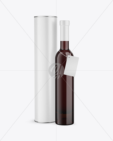 Amber Glass Red Wine Bottle With Tube Mockup