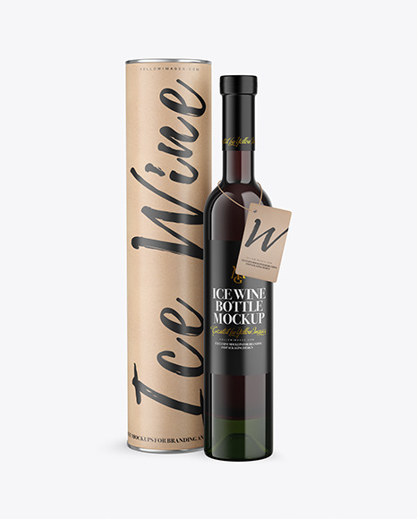 Green Glass Red Wine Bottle With Tube Mockup
