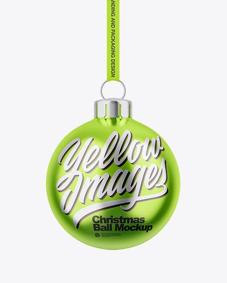 Glossy Metallic Christmas Ball Mockup