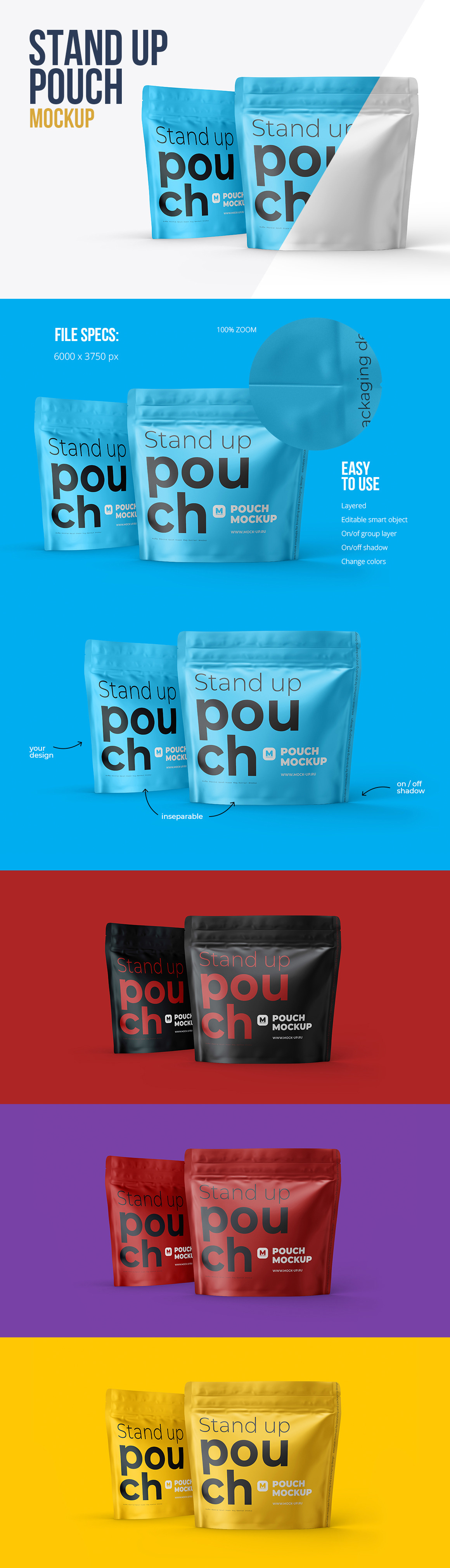 Square Zipper Stand Up Pouch. Front and Half Side