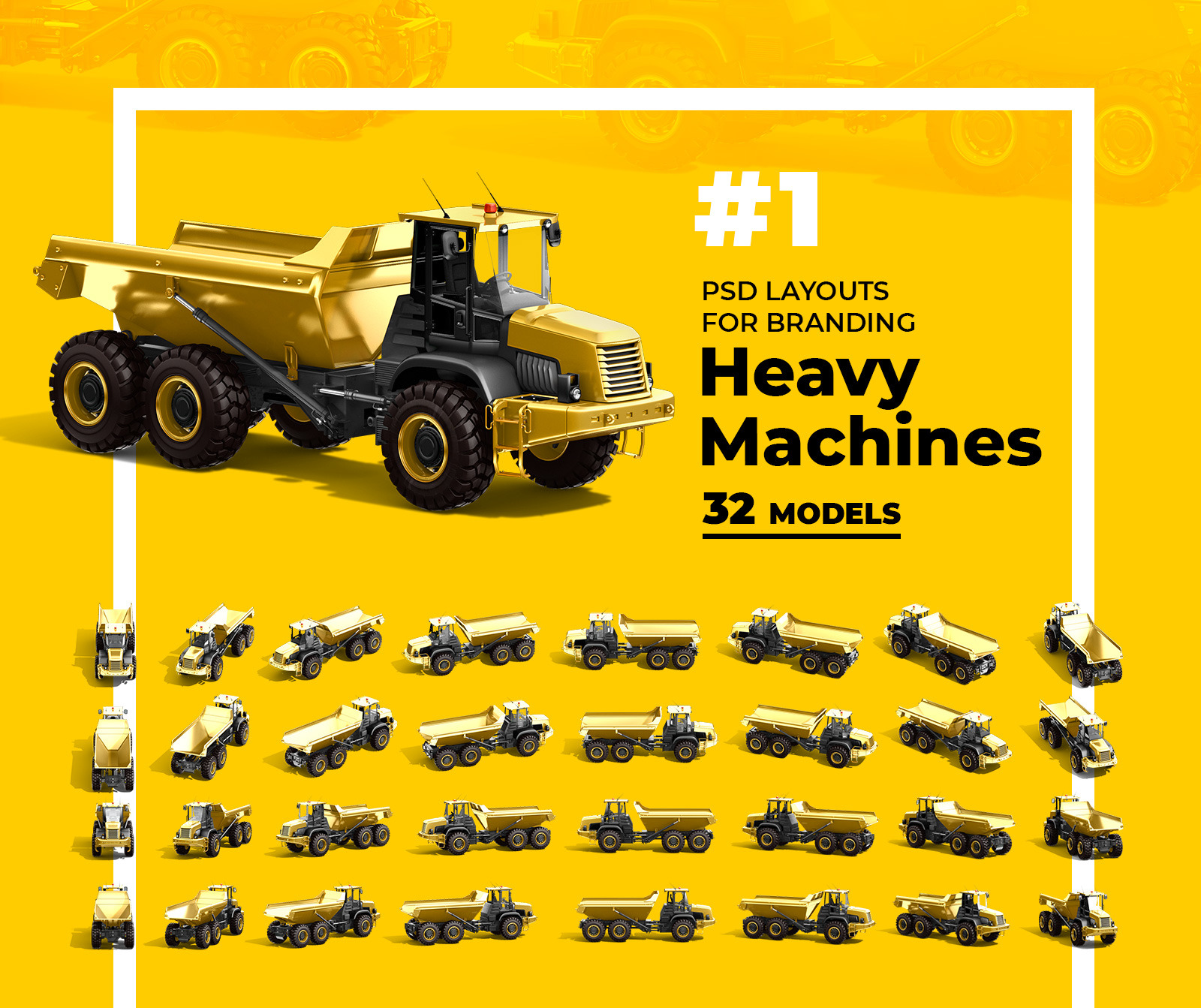 PSD Mockup 3D model Heavy Machines - Dump Truck #1