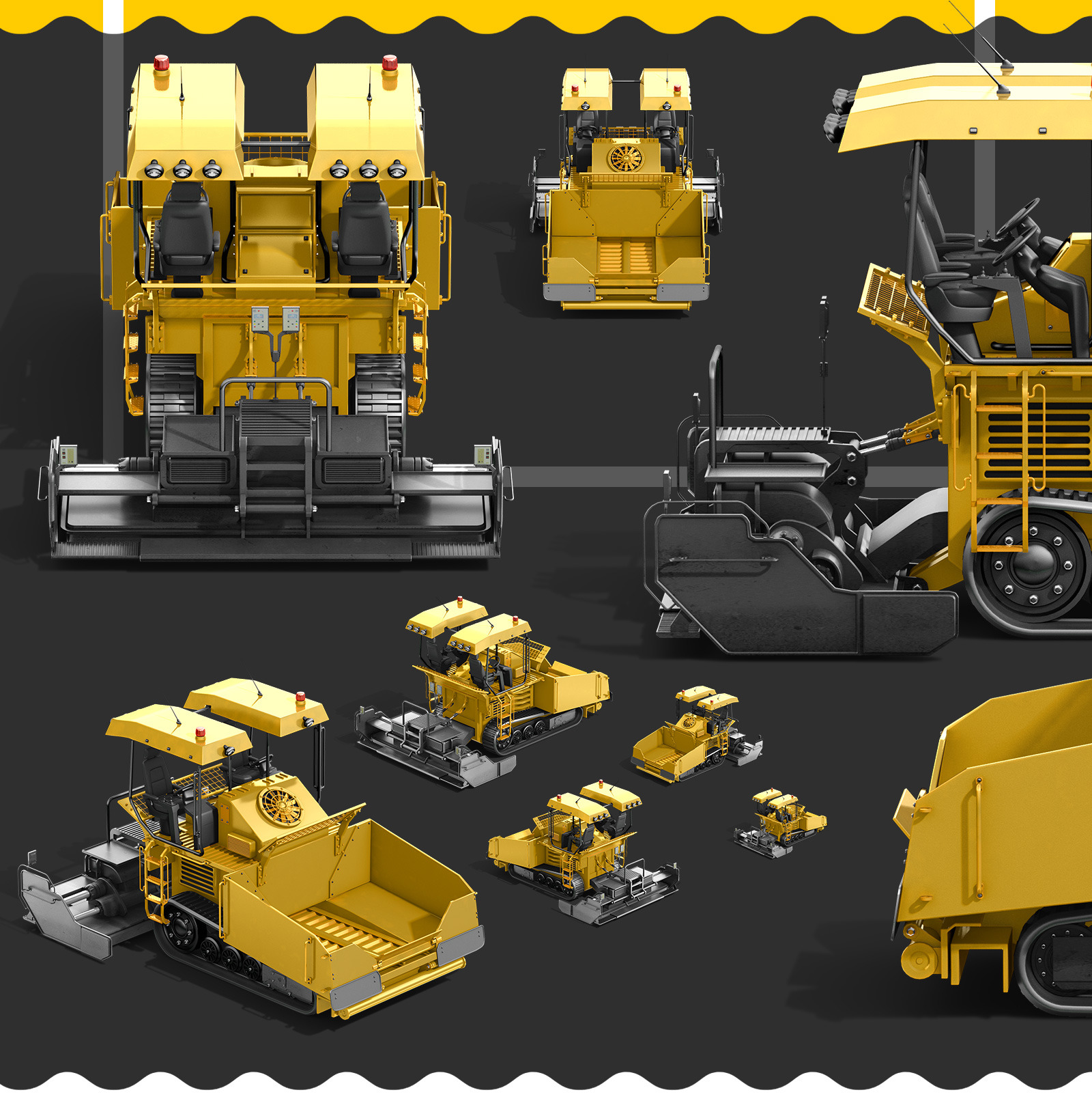 PSD Mockup 3D model Heavy Machines - Asphalt Paver #2