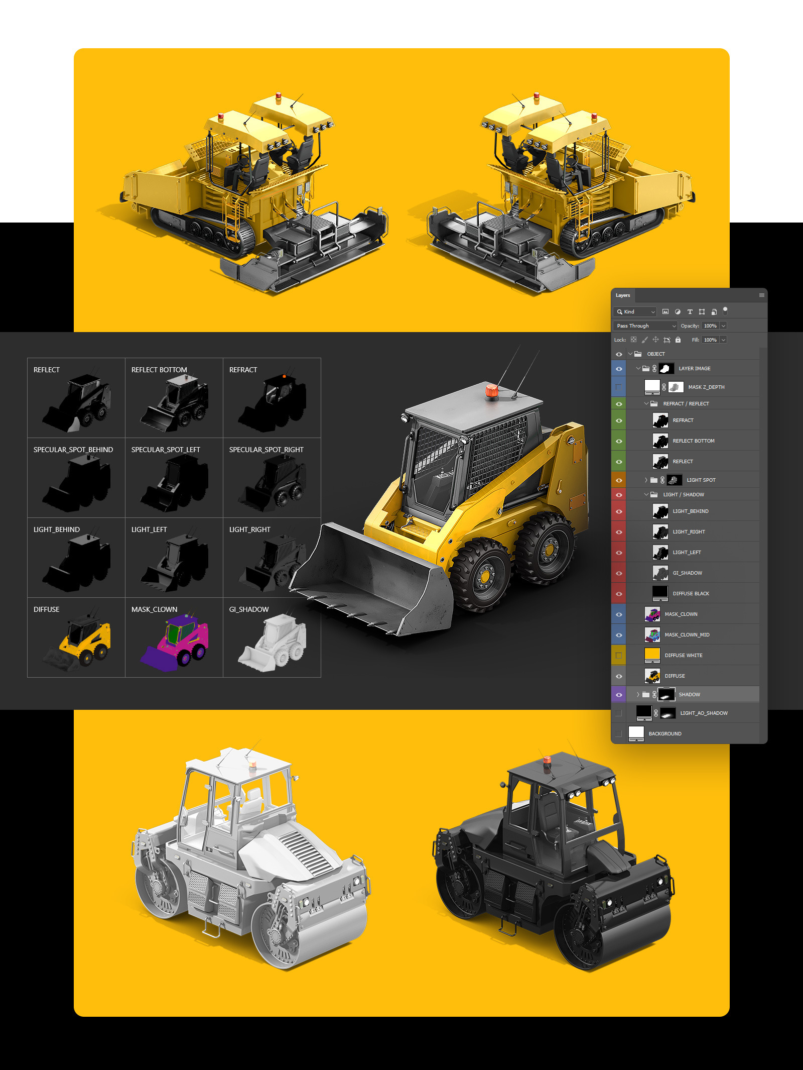 PSD Mockup 3D model Heavy Machines - Track Excavator #6