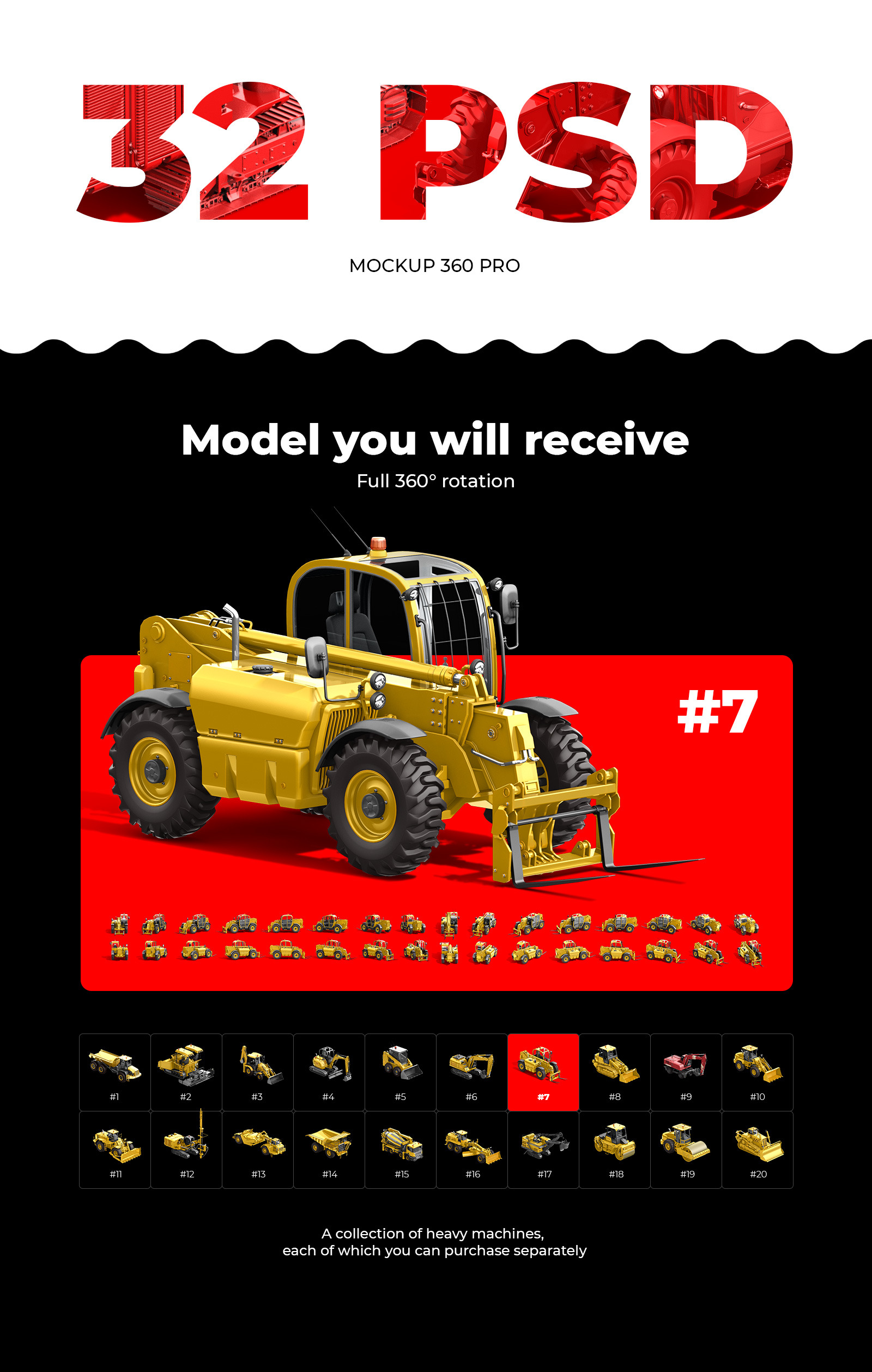 PSD Mockup 3D model Heavy Machines - Forklift Truck #7
