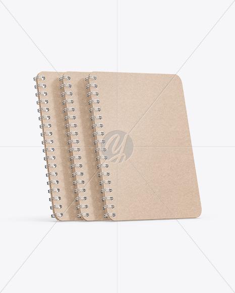 Set of Kraft Paper Notebooks Mockup