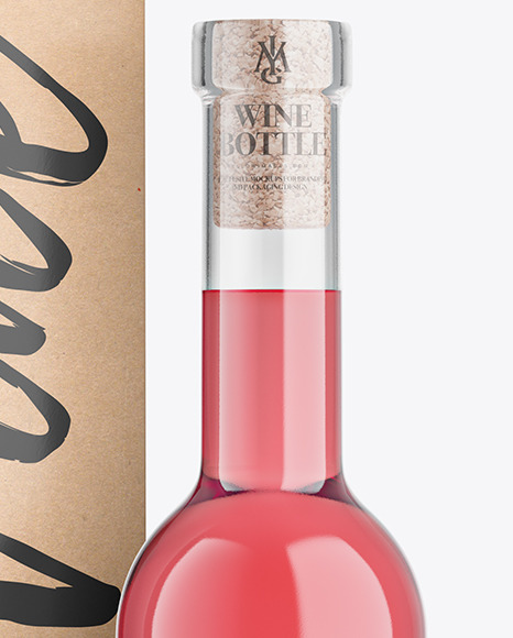 Clear Glass Pink Wine Bottle With Box Mockup