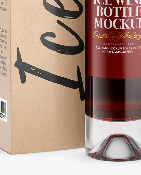 Clear Glass Red Wine Bottle With Box Mockup