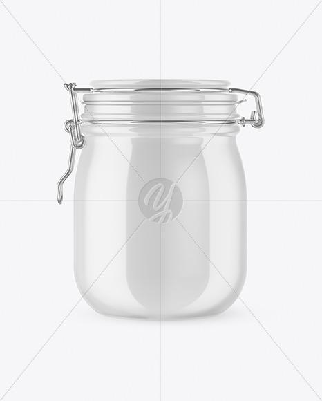 Glossy Ceramic Jar With Clamp Lid Mockup