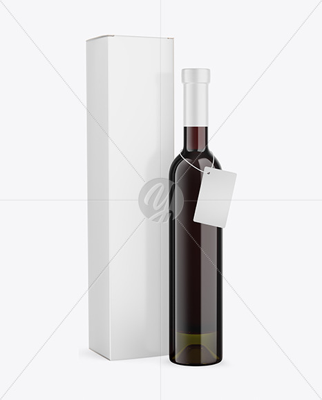 Antique Green Glass Red Wine Bottle With Box Mockup