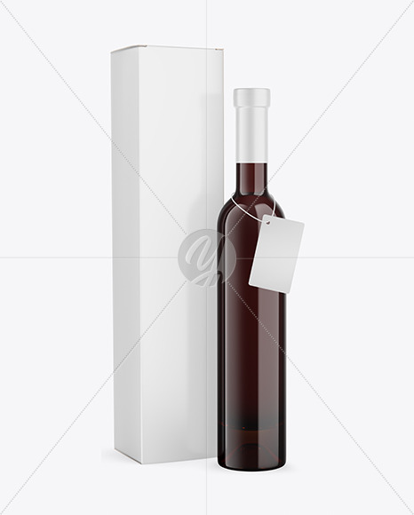 Amber Glass Red Wine Bottle With Box Mockup
