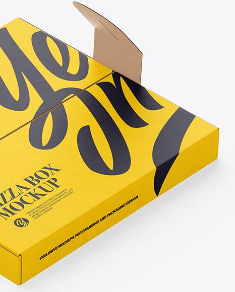 Carton Paper Pizza Box With Handles Mockup