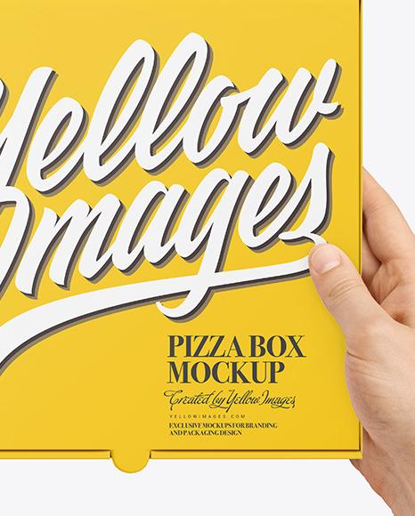 Mini PIzza Box with Hands Mockup