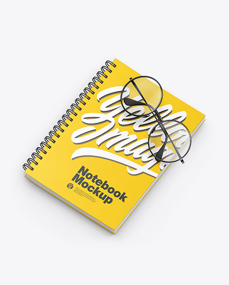 Matte Notebook with Sunglasses Mockup