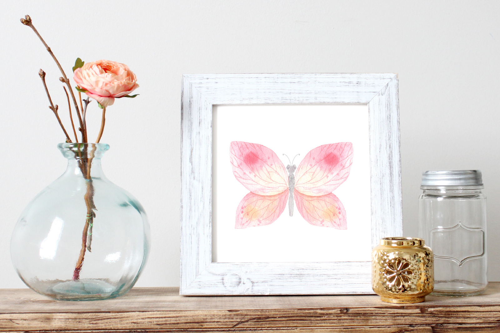 Watercolor Pink Butterfly clipart