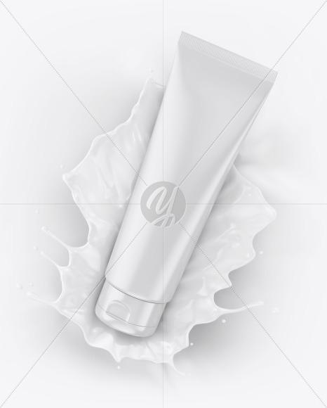 Glossy Cosmetic Tube with Splash Mockup