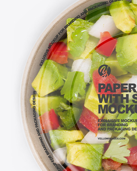 Paper Bowl with Salad Mockup