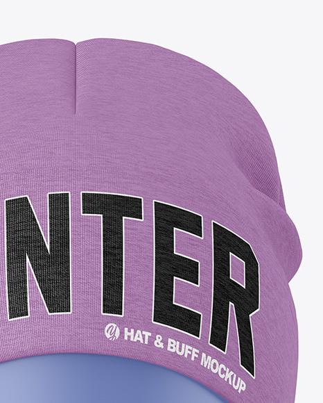 Melange Winter Hat & Buff Mockup