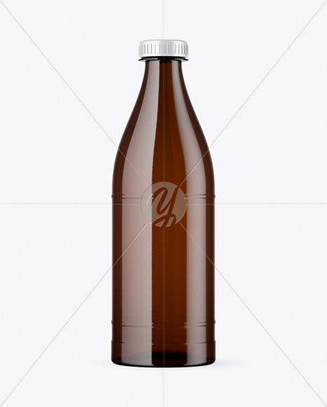 Amber Plastic Bottle Mockup