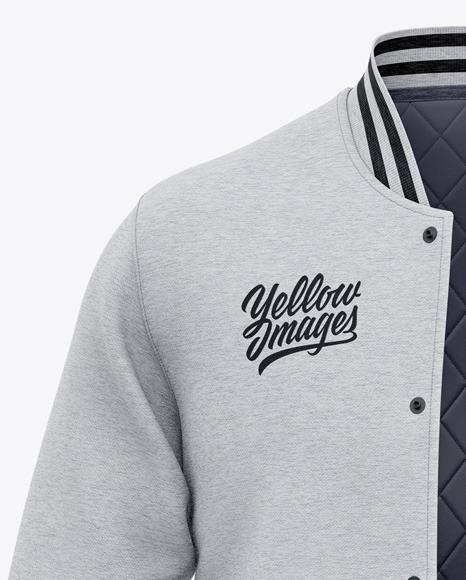 Men's Heather Letterman Jacket or Varsity Jacket - Front View