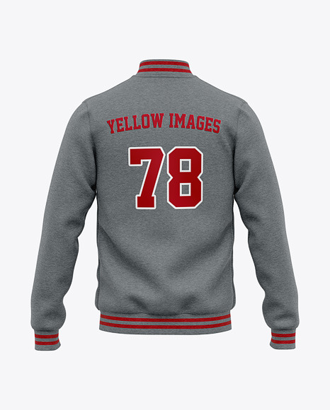 Men's Heather Letterman Jacket or Varsity Jacket - Back View