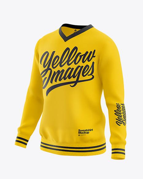 Men's V-Neck Sweatshirt Mockup - Front Half Side View