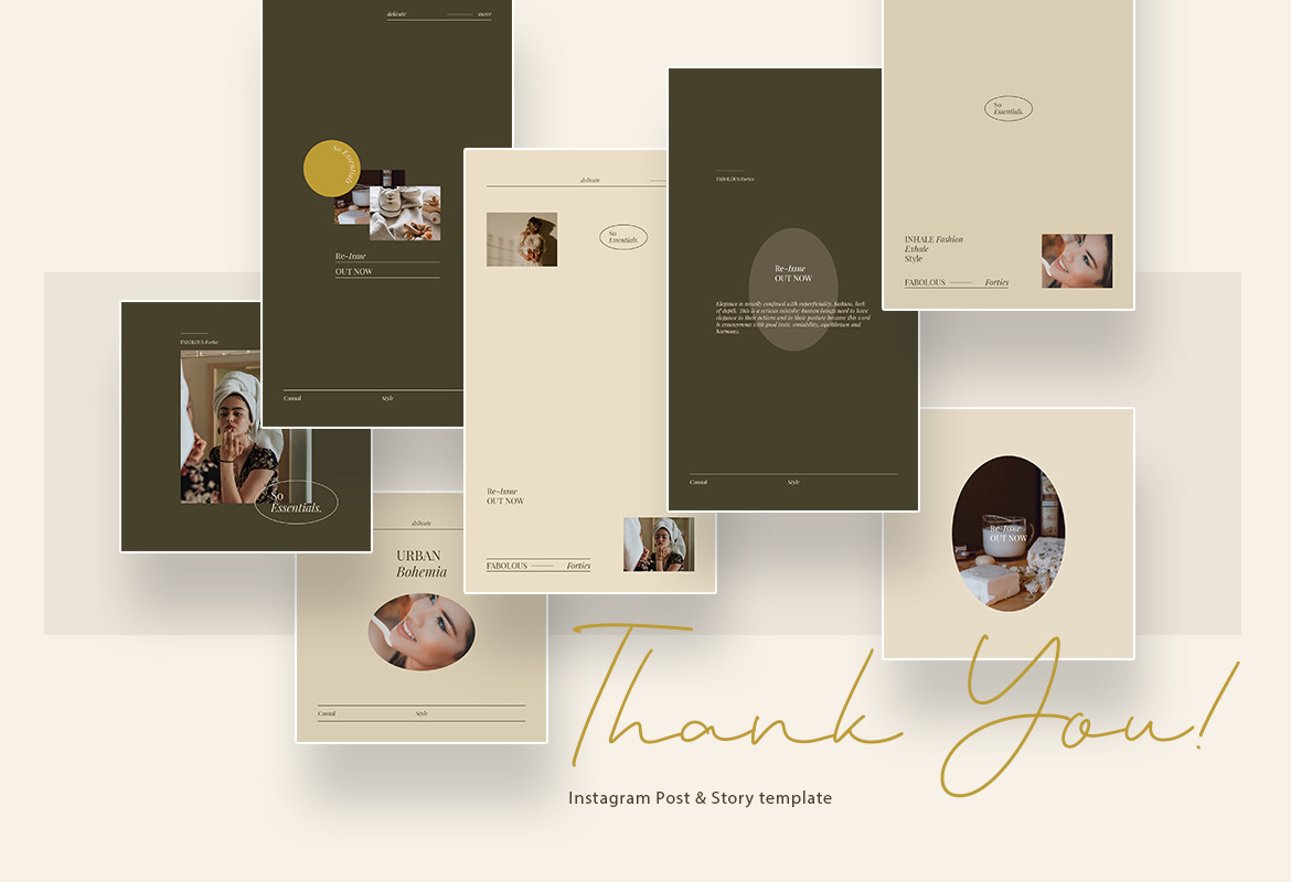 Minimalist Beauty Instagram Post and Story Template with brown and cream colors