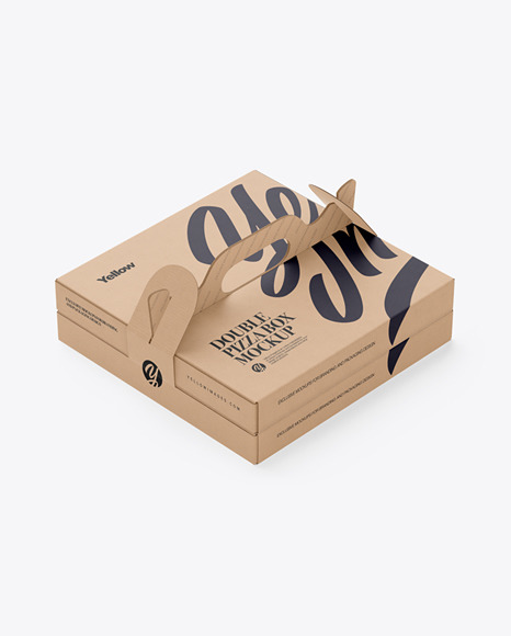 Kraft Paper Double Pizza Box With Handles Mockup