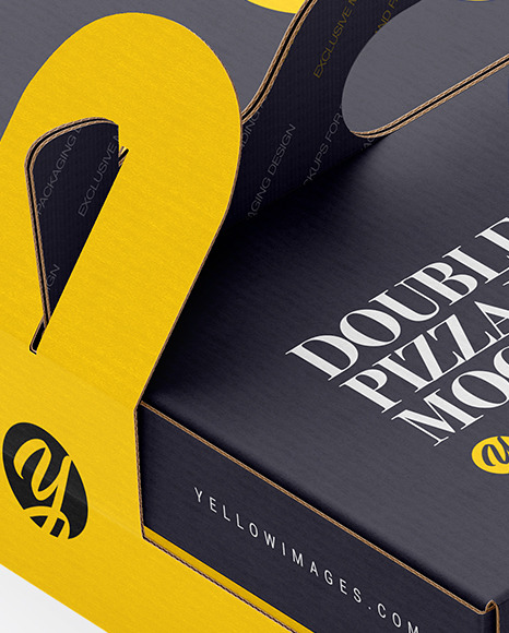 Carton Paper Double Pizza Box With Handles Mockup
