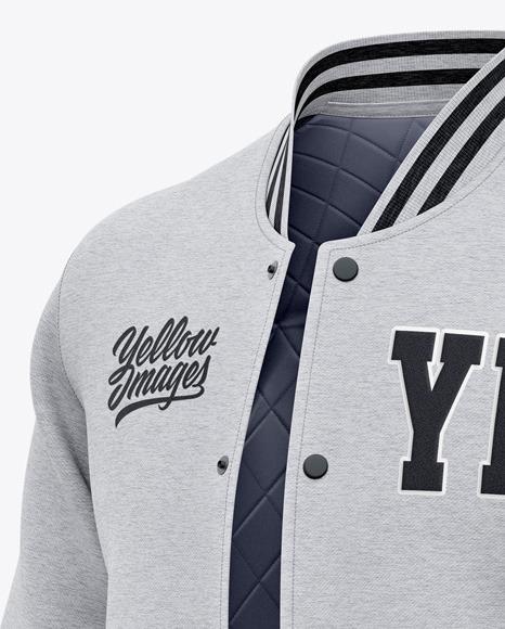 Men's Heather Letterman Jacket or Varsity Jacket - Front Half Side View