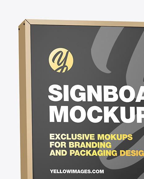 Metallic Signboard Mockup