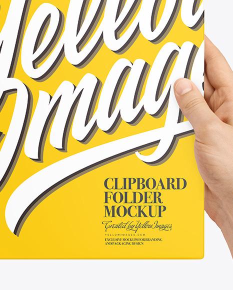 Clipboard Folder in Hands Mockup