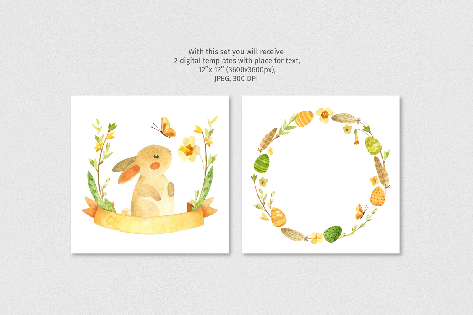 Watercolor clipart with Easter bunny, eggs, spring flowers