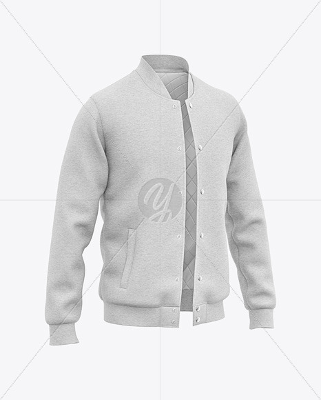 Men's Heather Letterman Jacket or Varsity Jacket - Front Half Side View