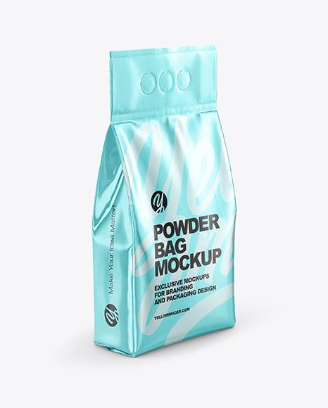 Metallic Powder Bag Mockup - Half Side View