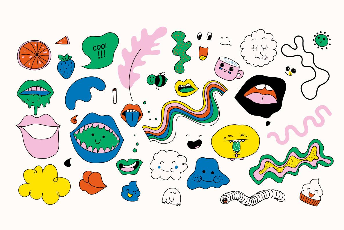 133 sweet doodles.  EPS AI JPG PNG