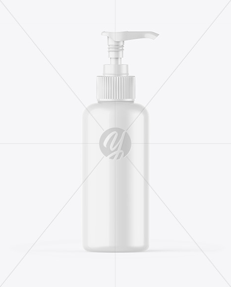 Glossy Sanitizer Bottle w/ Open Pump Mockup