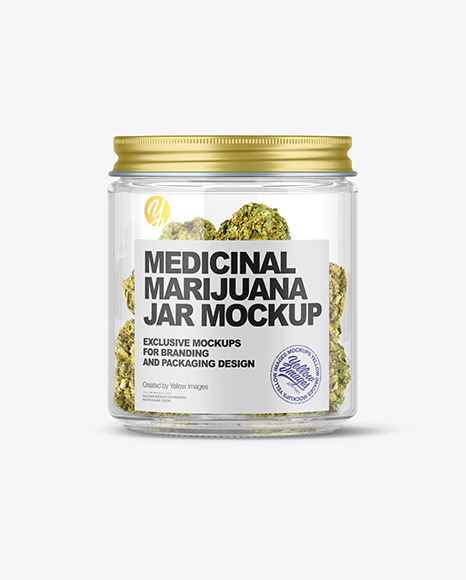 Glass Jar w/ Weed Buds Mockup