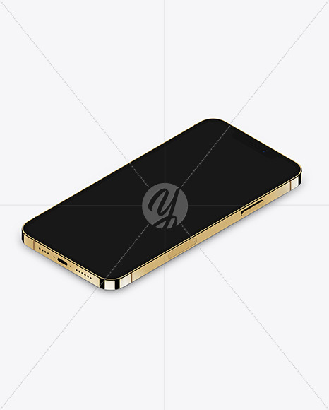 Isometric Apple iPhone 12 Pro Max Gold Mockup