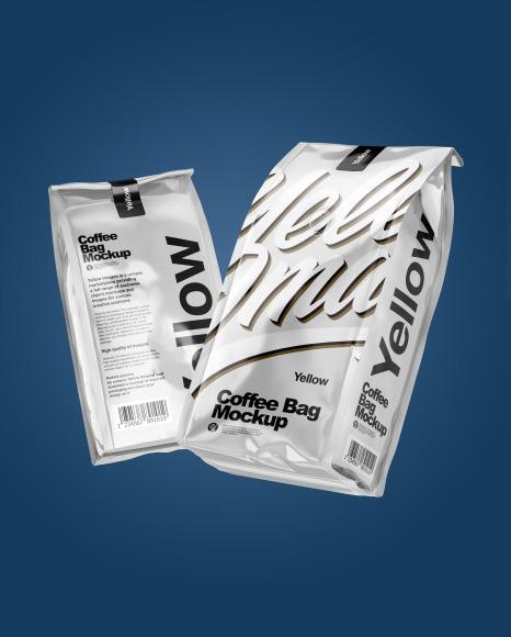 Two Glossy Metallic Coffee Bag Packaging Mockup
