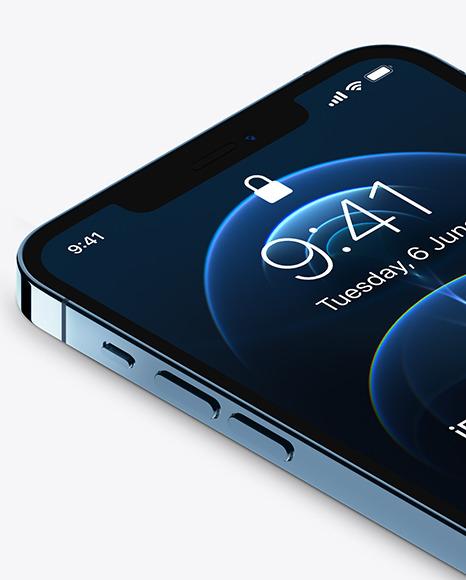 Isometric Apple iPhone 12 Pro Max Pacific Blue Mockup