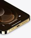 Isometric Apple iPhone 12 Pro Max Gold Mockup