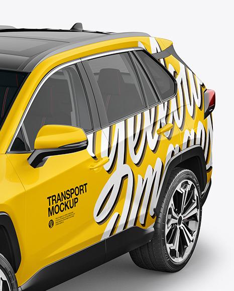 Compact Crossover SUV Mockup - Half Side View (High-Angle Shot)